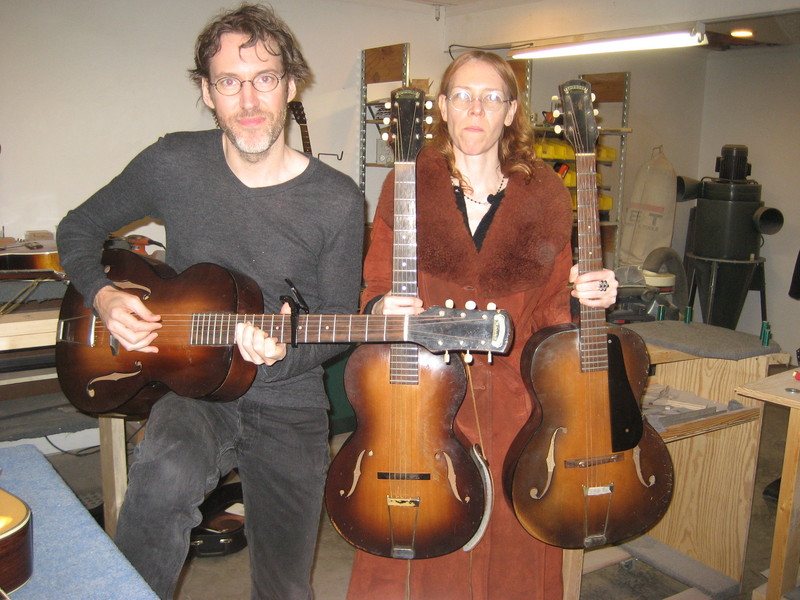 Dave and Gillian with Epiphone Olympics