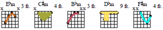 minor chords with colored patterns